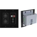 Attero Tech UND6IO-B-B 4x2 Channel 2 Gang US Wallplate with XLR RCA 3.5mm I/O PoE - Tesira Control Compatible - Black